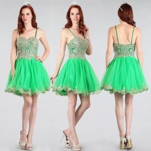 Dresses & Skirts - Green with Gold Lace Dress
